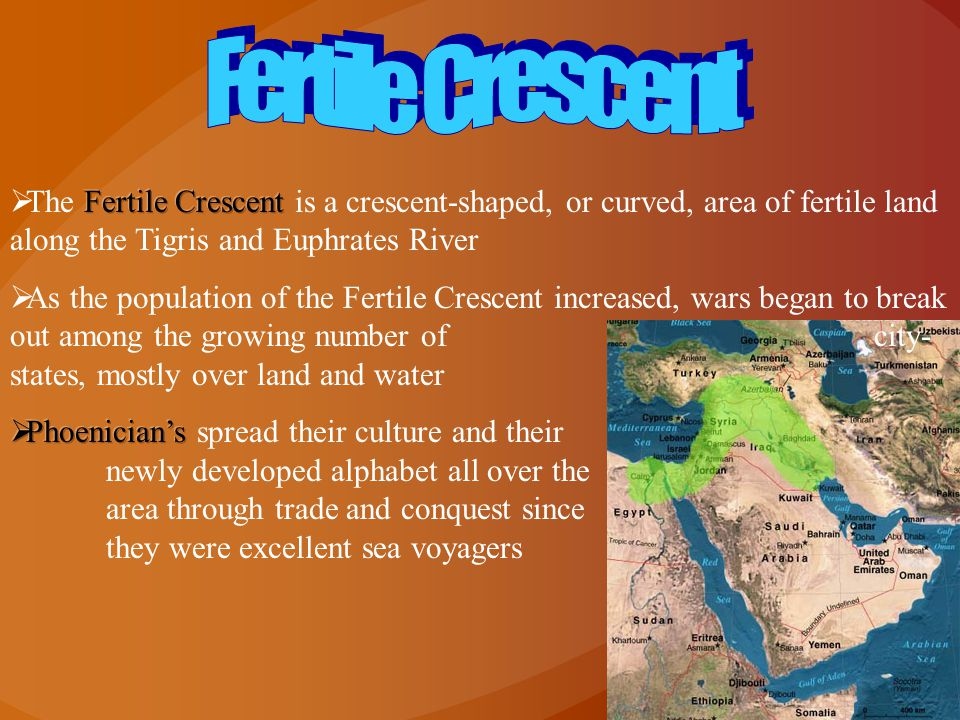 Fertile Crescent The Fertile Crescent is a crescent-shaped, or curved, area of fertile land along the Tigris and Euphrates River.