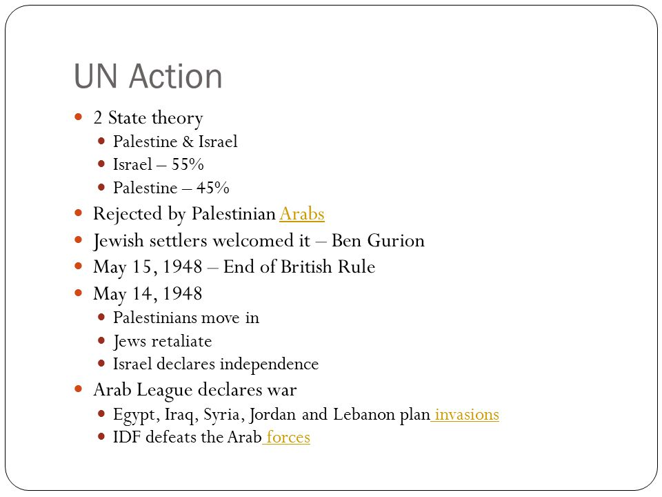 UN Action 2 State theory Rejected by Palestinian Arabs