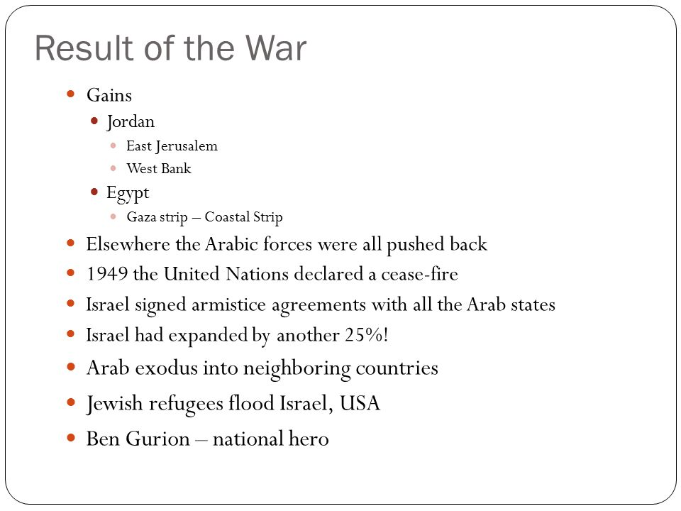 Result of the War Arab exodus into neighboring countries
