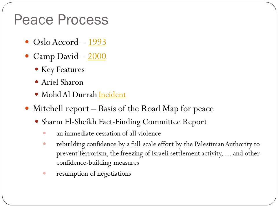 Peace Process Oslo Accord – 1993 Camp David – 2000