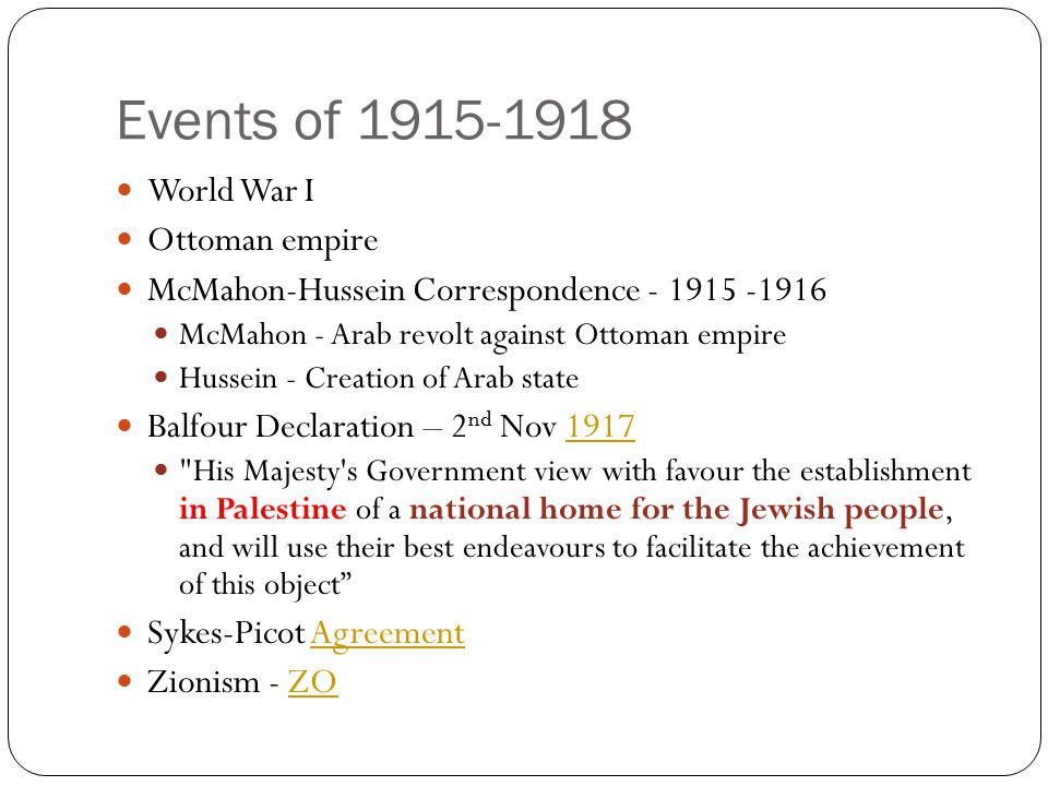 Events of 1915-1918 World War I Ottoman empire