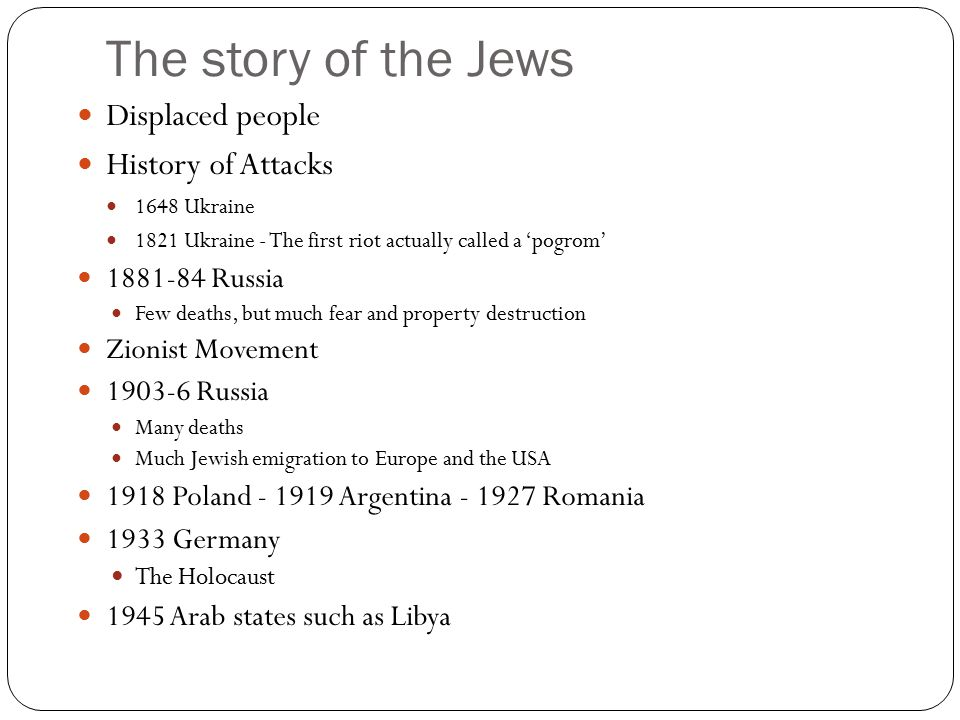 The story of the Jews Displaced people History of Attacks