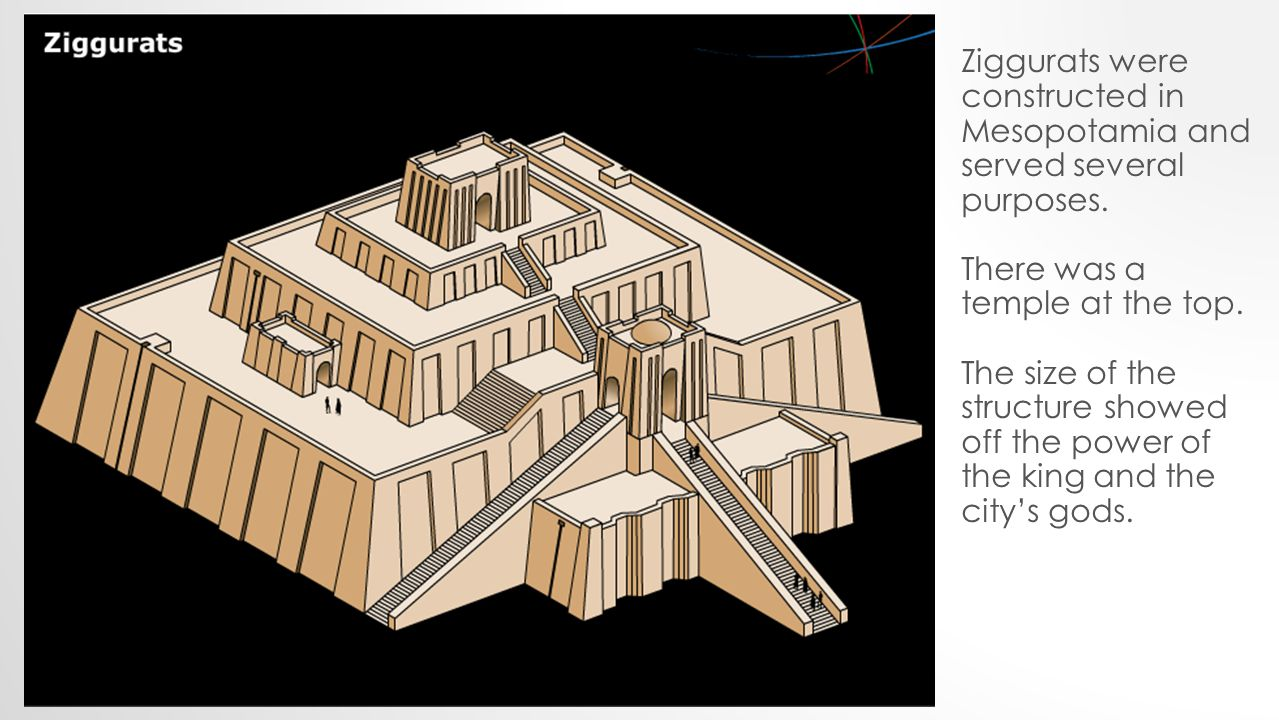 Ziggurats were constructed in Mesopotamia and served several purposes.