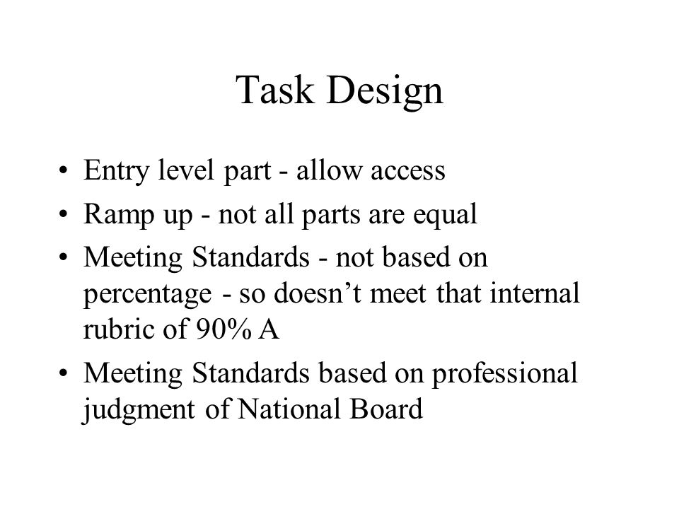 Task Design Entry level part - allow access