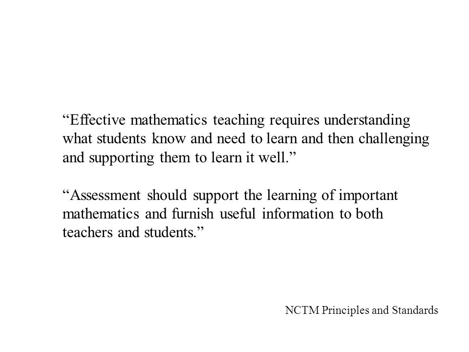 Effective mathematics teaching requires understanding what students know and need to learn and then challenging and supporting them to learn it well.