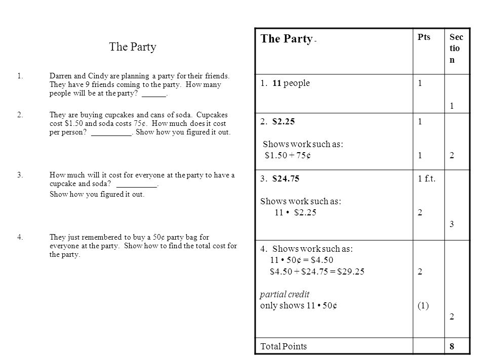 The Party The Party - Pts Section 1. 11 people 1 2. $2.25
