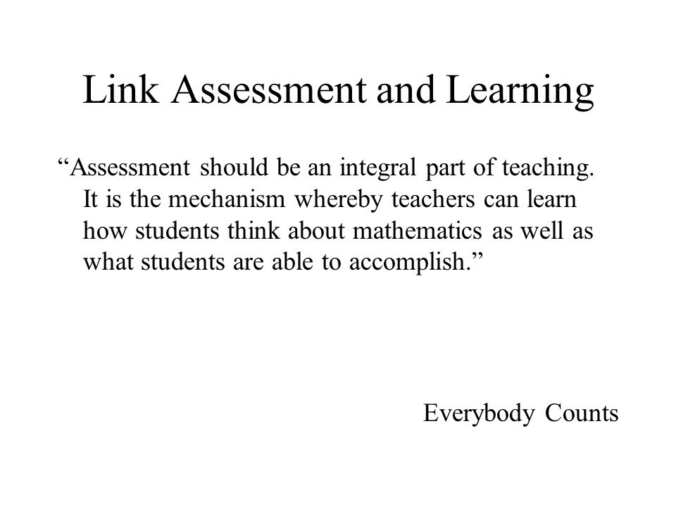 Link Assessment and Learning