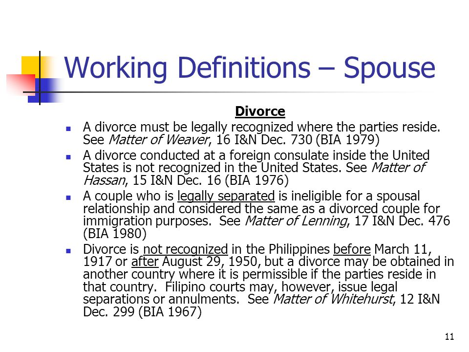 Working Definitions – Spouse