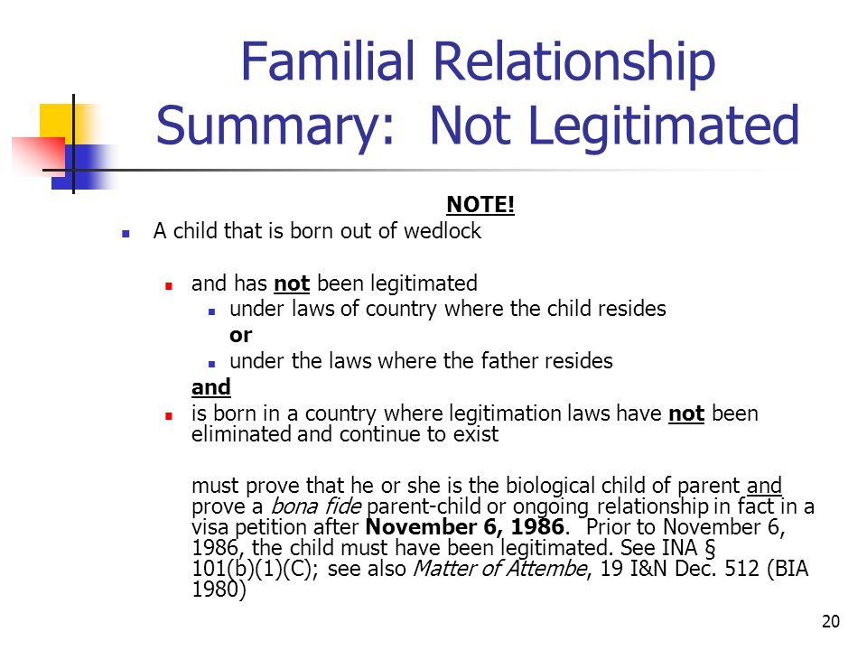 Familial Relationship Summary: Not Legitimated