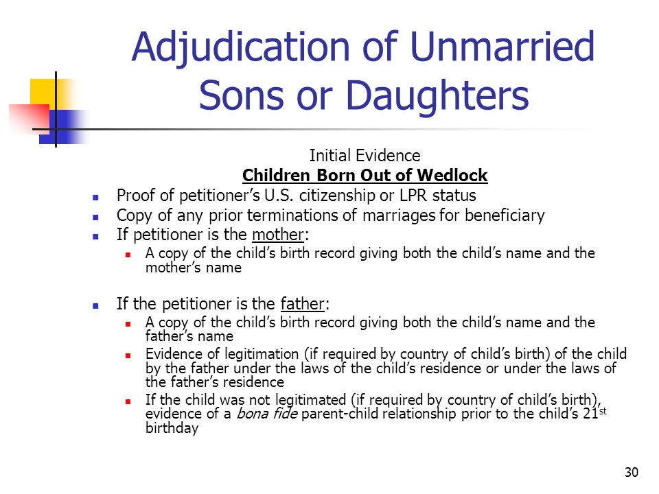 Adjudication of Unmarried Sons or Daughters