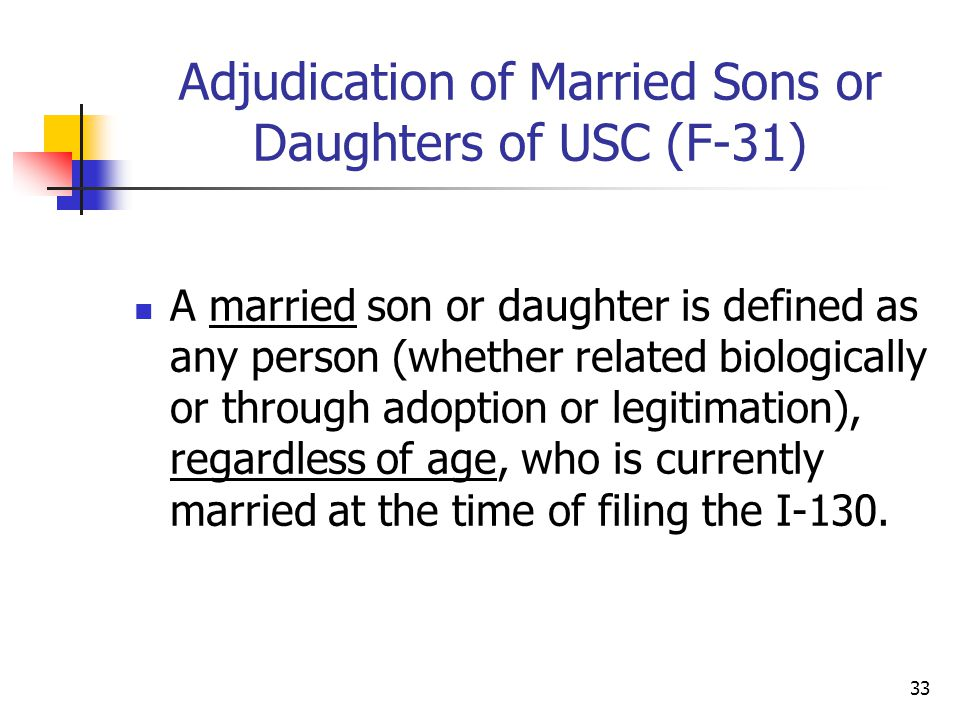 Adjudication of Married Sons or Daughters of USC (F-31)