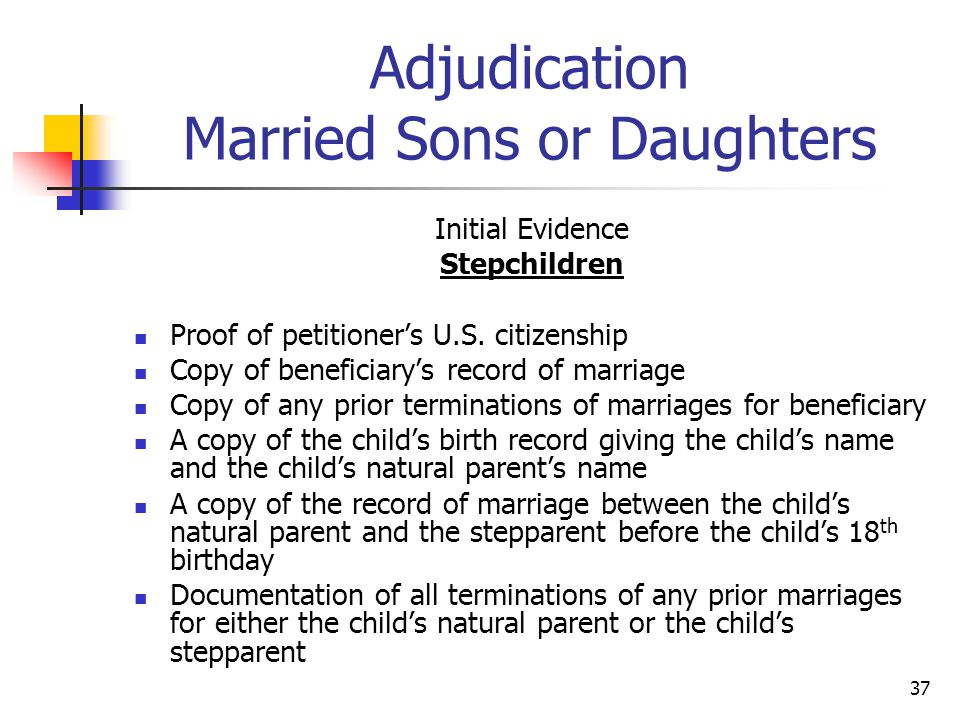 Adjudication Married Sons or Daughters