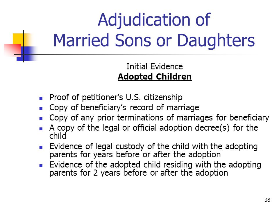 Adjudication of Married Sons or Daughters