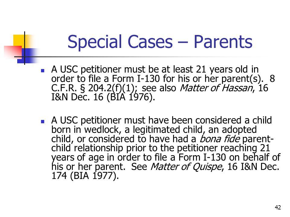 Special Cases – Parents