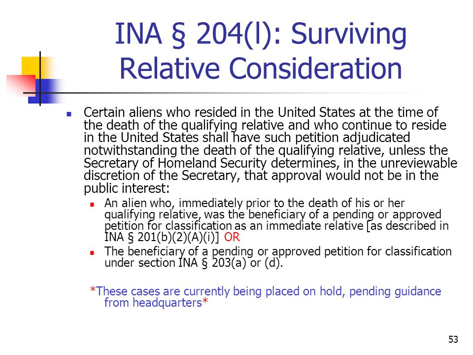 INA § 204(l): Surviving Relative Consideration