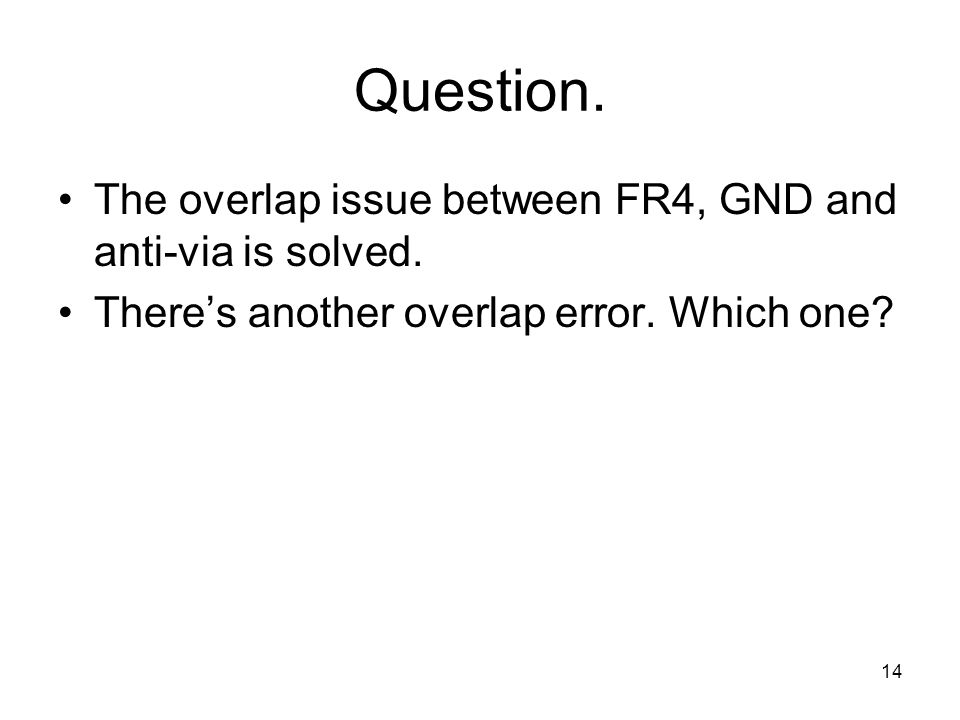Question. The overlap issue between FR4, GND and anti-via is solved.