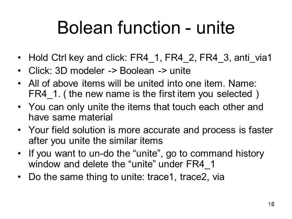 Bolean function - unite