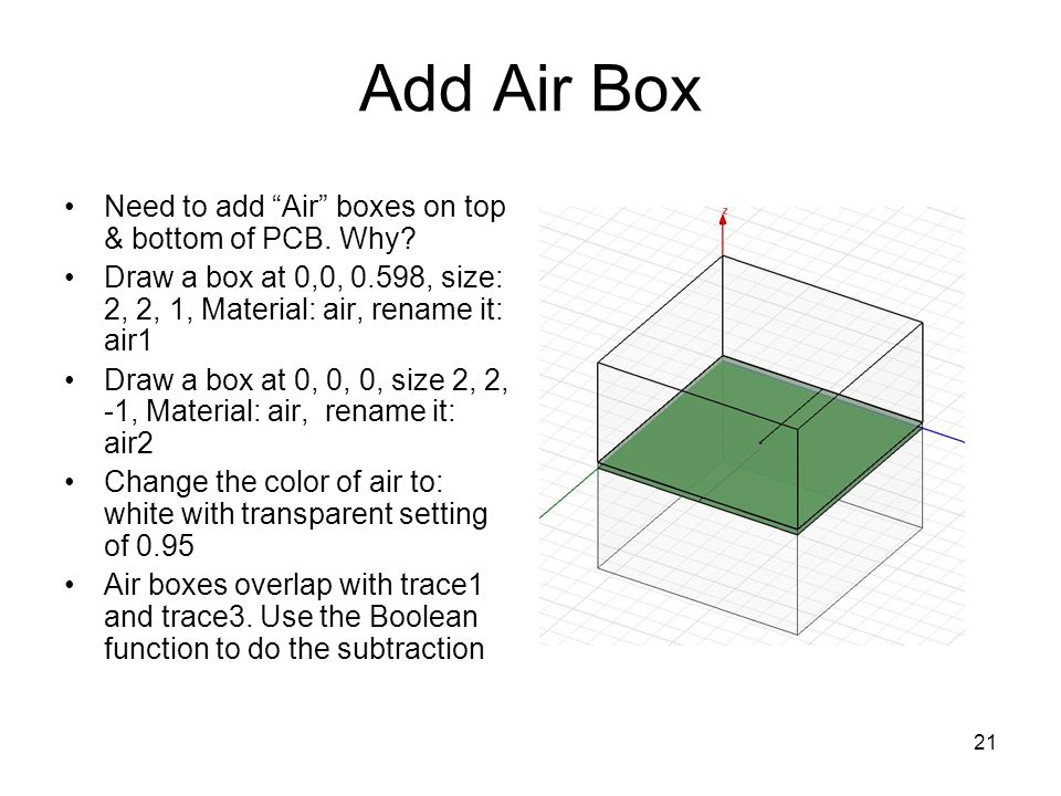 Add Air Box Need to add Air boxes on top & bottom of PCB. Why