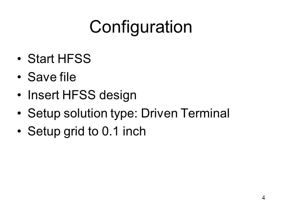 Configuration Start HFSS Save file Insert HFSS design