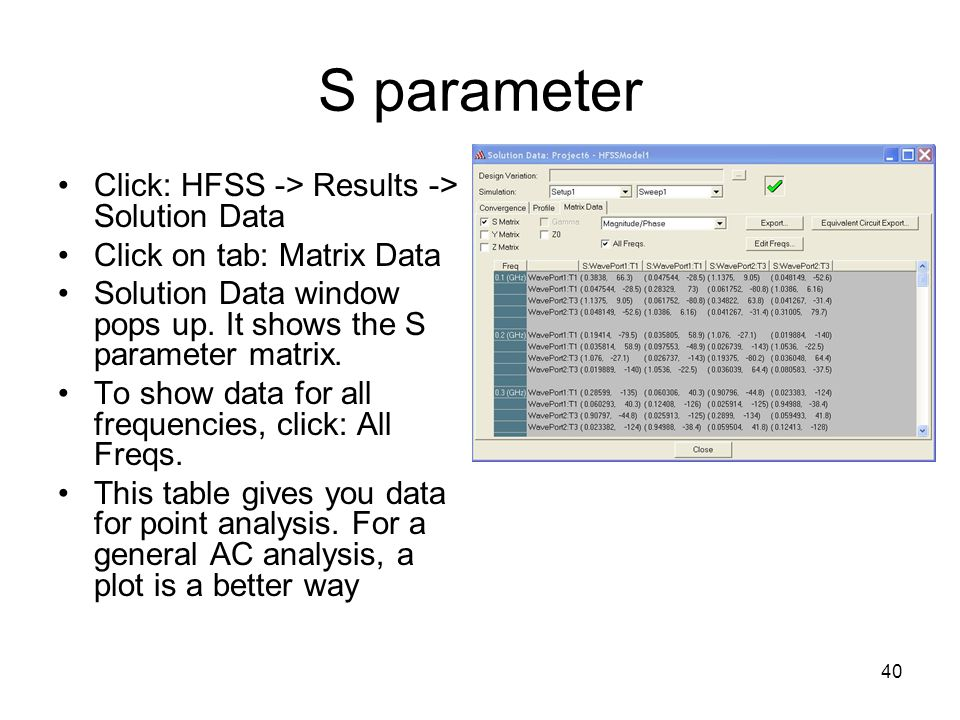 S parameter Click: HFSS -> Results -> Solution Data