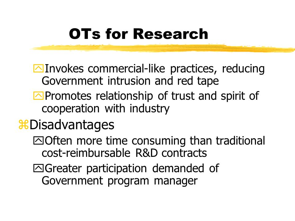 OTs for Research Disadvantages