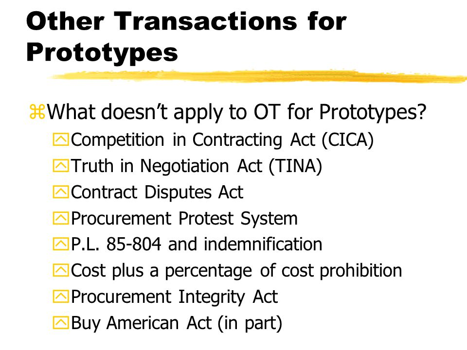 Other Transactions for Prototypes