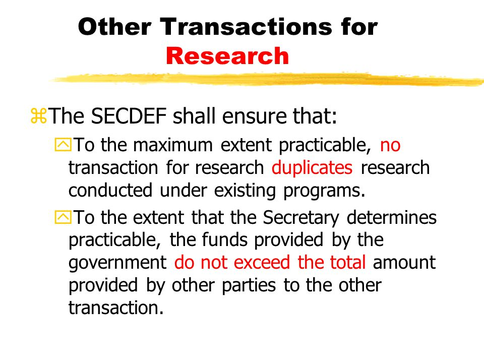 Other Transactions for Research
