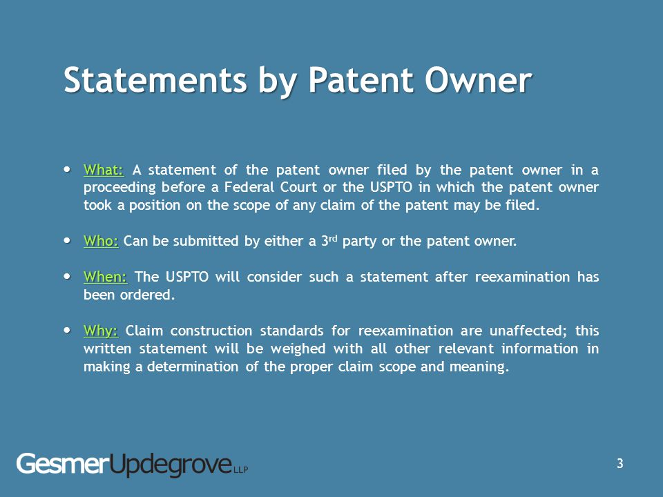 Statements by Patent Owner