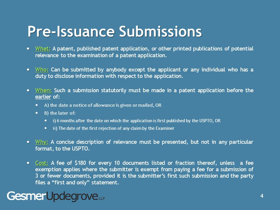 Pre-Issuance Submissions