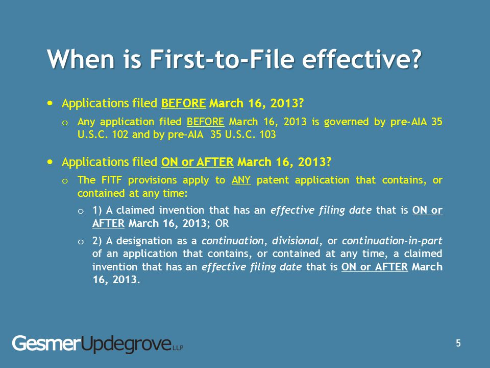 When is First-to-File effective