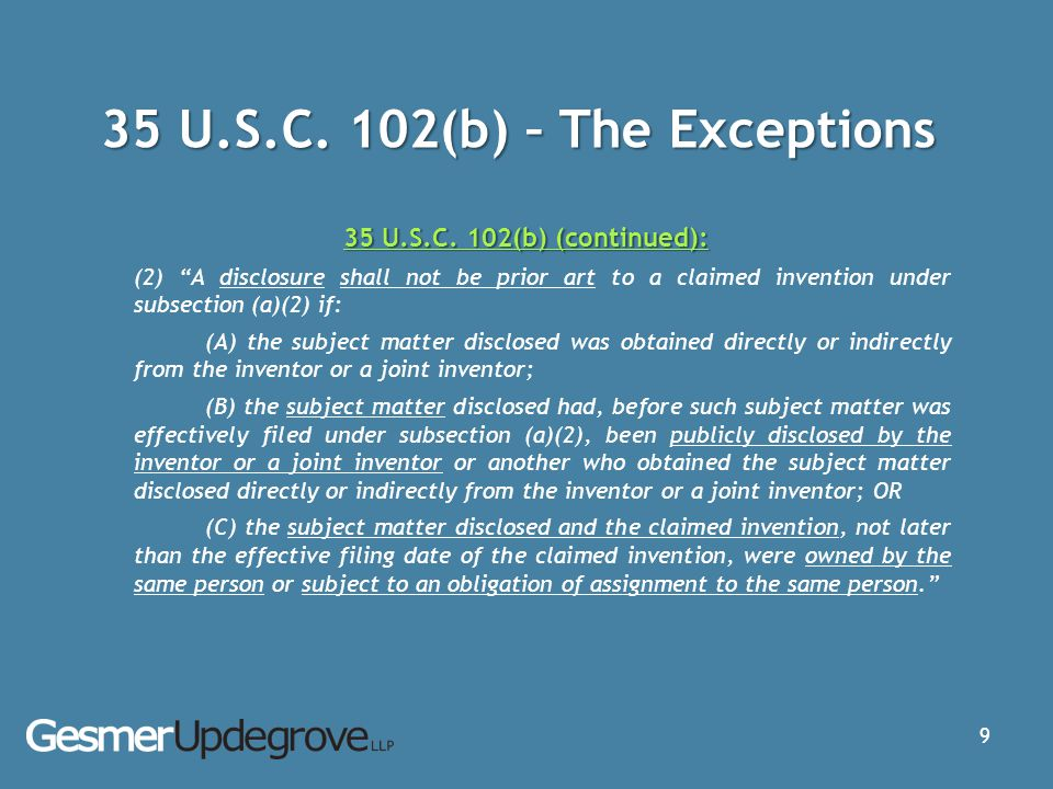 35 U.S.C. 102(b) – The Exceptions