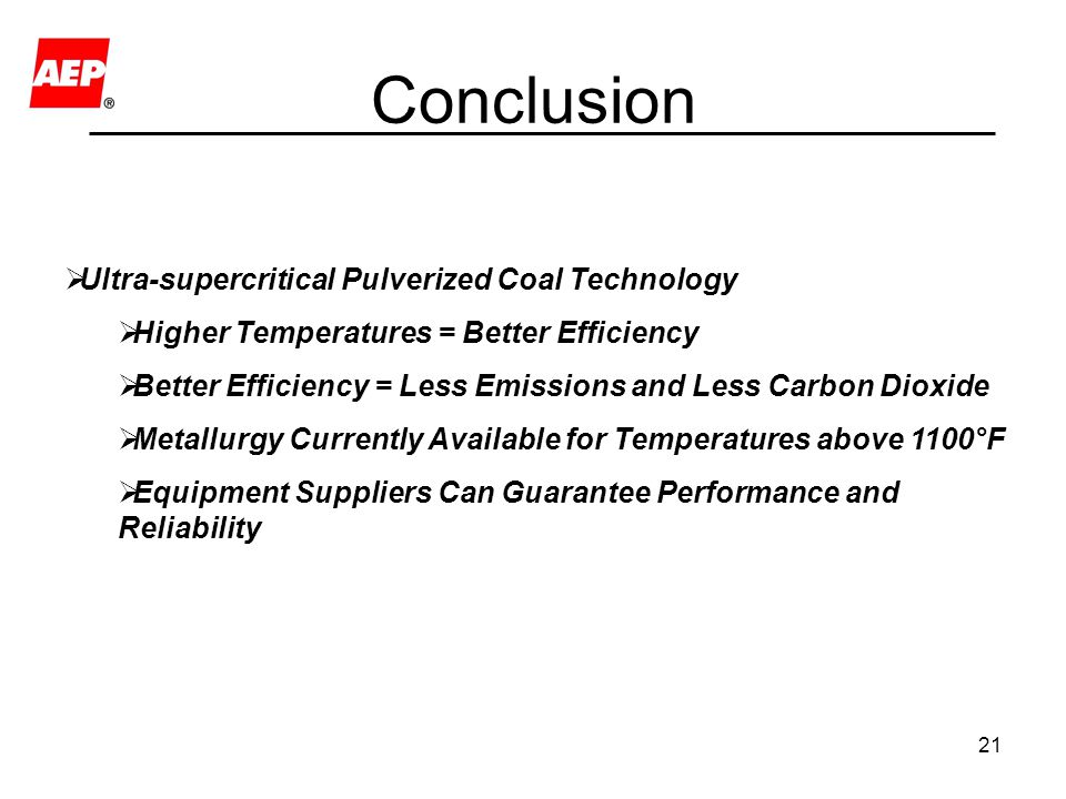 Conclusion Ultra-supercritical Pulverized Coal Technology