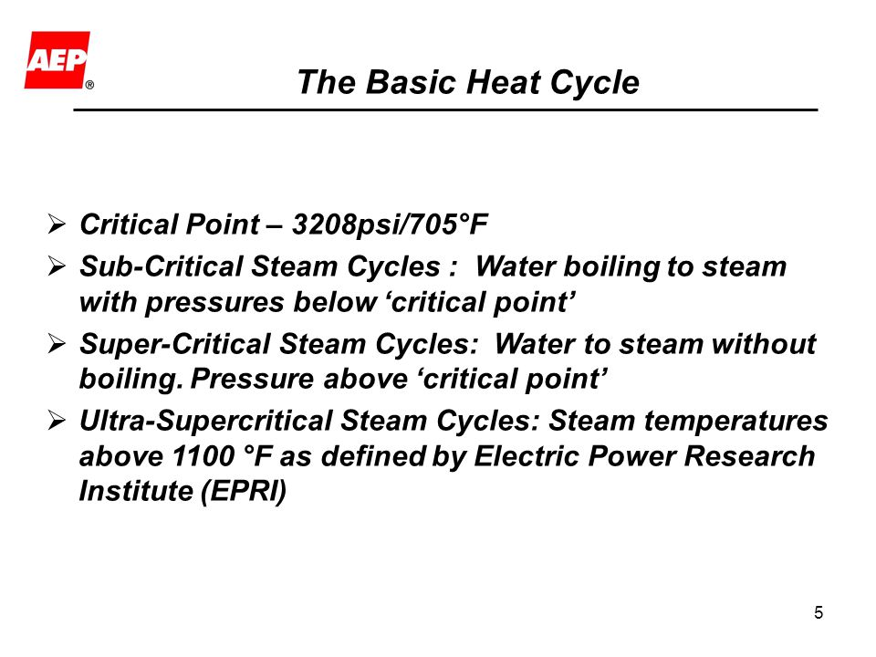 The Basic Heat Cycle Critical Point – 3208psi/705°F