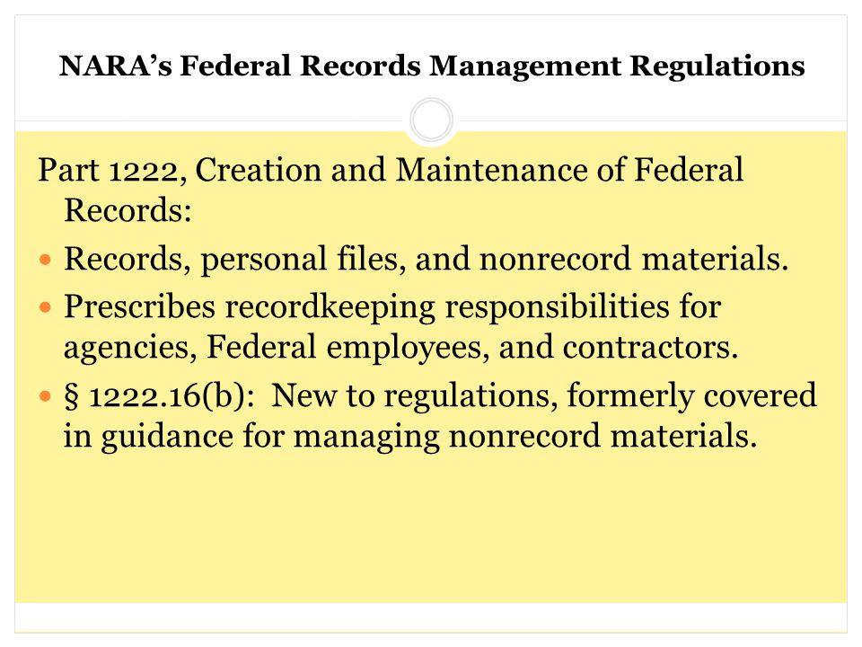 Part 1222, Creation and Maintenance of Federal Records: