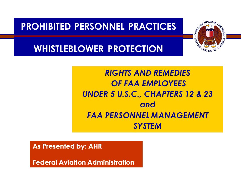 PROHIBITED PERSONNEL PRACTICES WHISTLEBLOWER PROTECTION