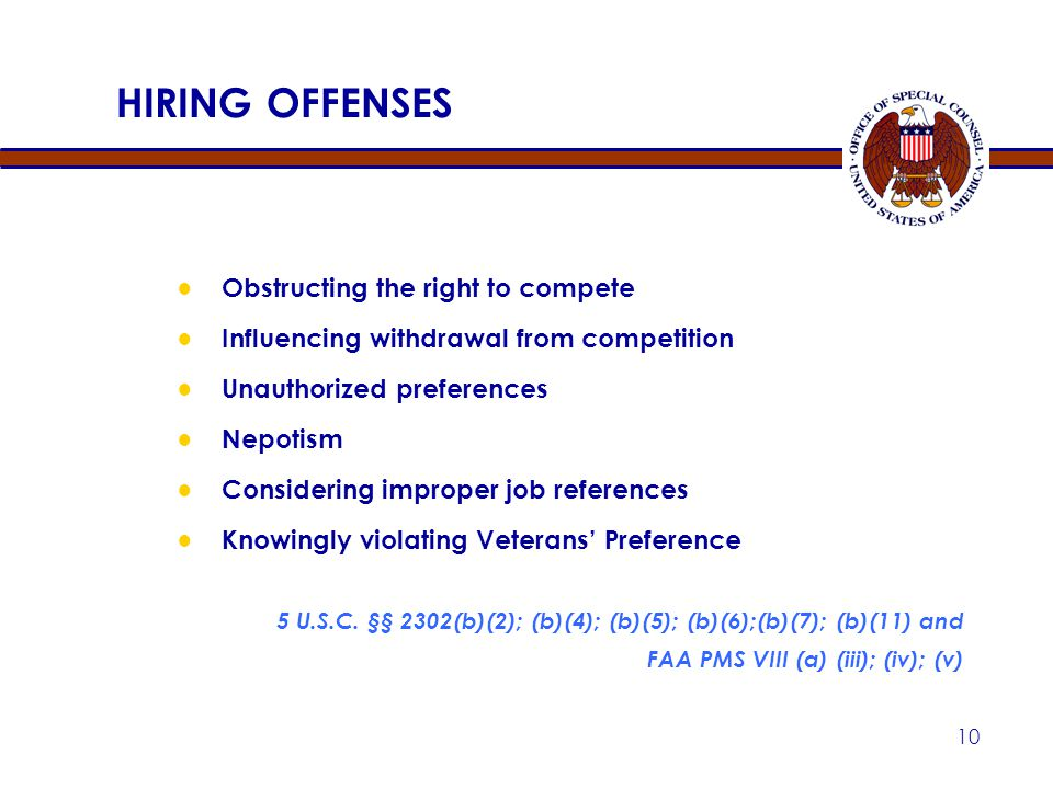 HIRING OFFENSES Obstructing the right to compete