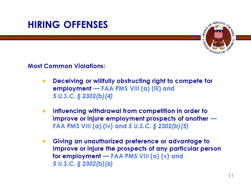 HIRING OFFENSES Most Common Violations: