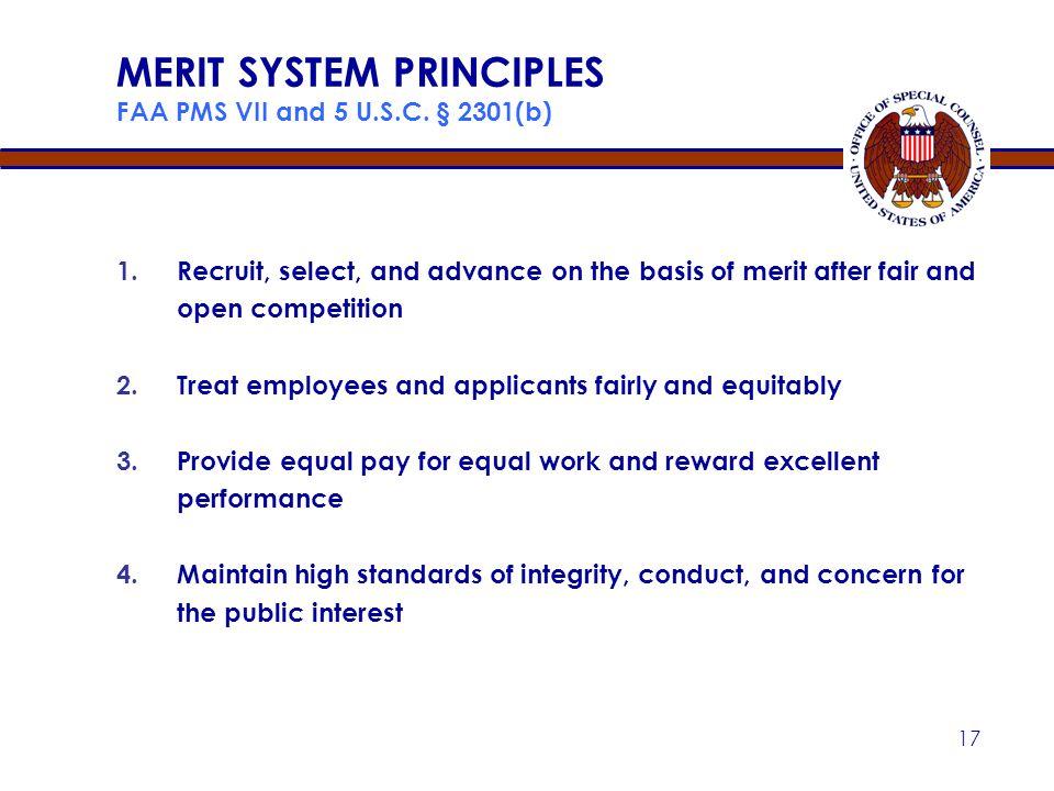 MERIT SYSTEM PRINCIPLES FAA PMS VII and 5 U.S.C. § 2301(b)