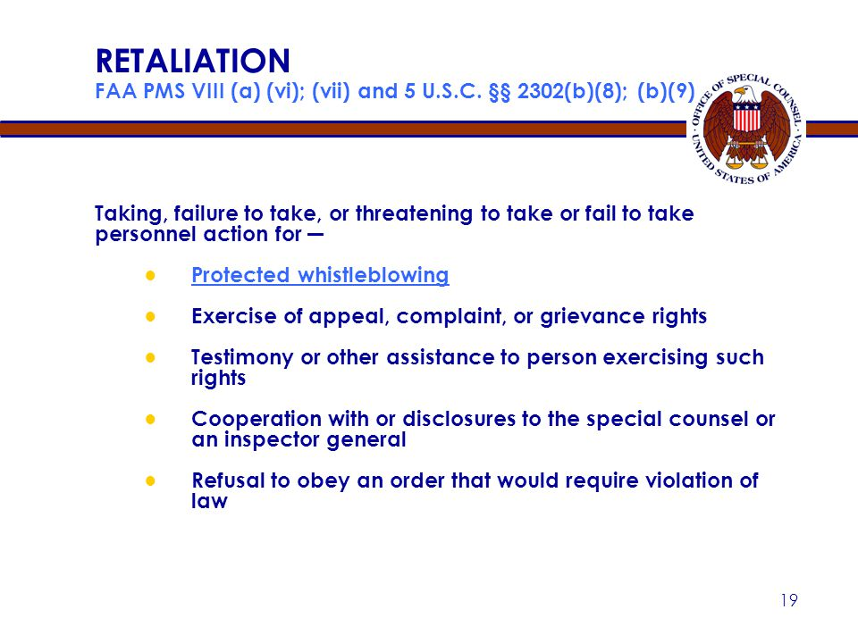 Apr-17 RETALIATION FAA PMS VIII (a) (vi); (vii) and 5 U.S.C. §§ 2302(b)(8); (b)(9)