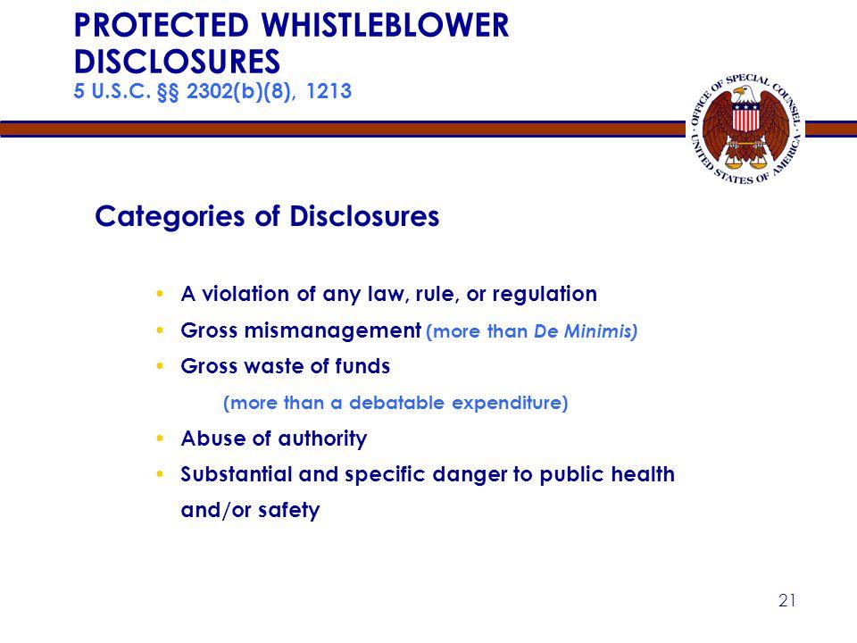 PROTECTED WHISTLEBLOWER DISCLOSURES 5 U.S.C. §§ 2302(b)(8), 1213