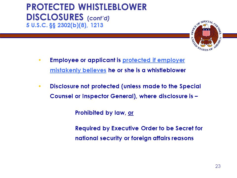 Apr-17 PROTECTED WHISTLEBLOWER DISCLOSURES (cont'd) 5 U.S.C. §§ 2302(b)(8), 1213.