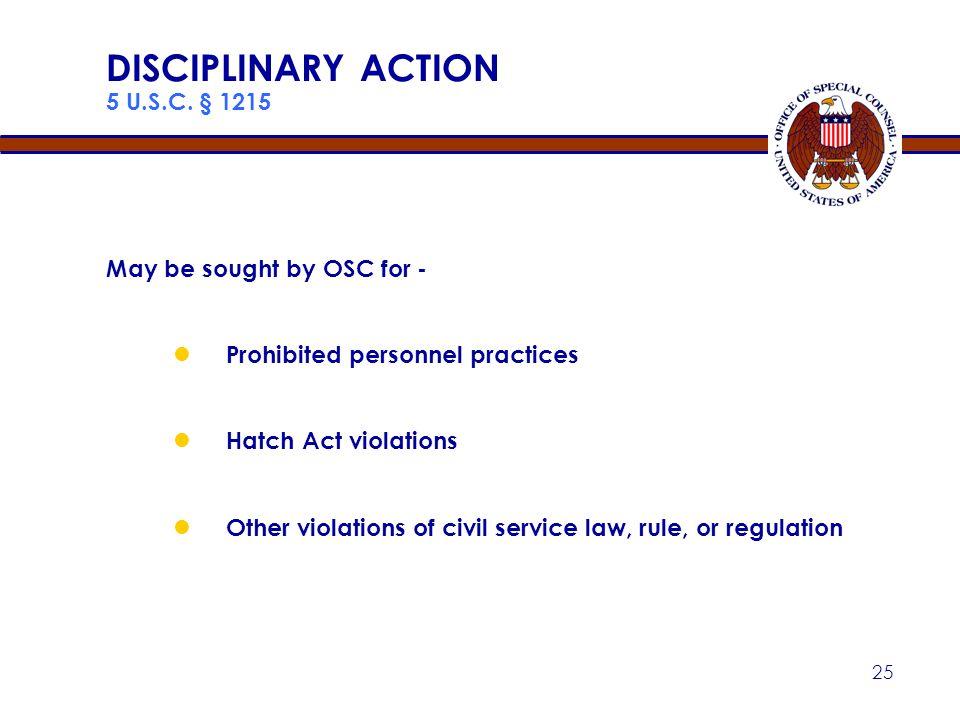 DISCIPLINARY ACTION 5 U.S.C. § 1215