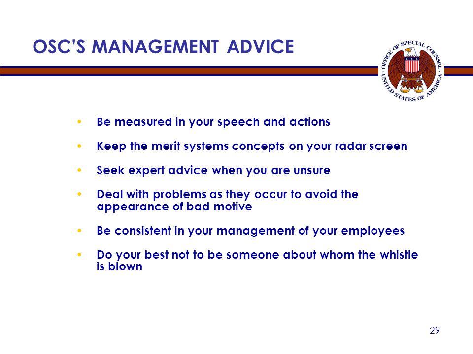 OSC'S MANAGEMENT ADVICE