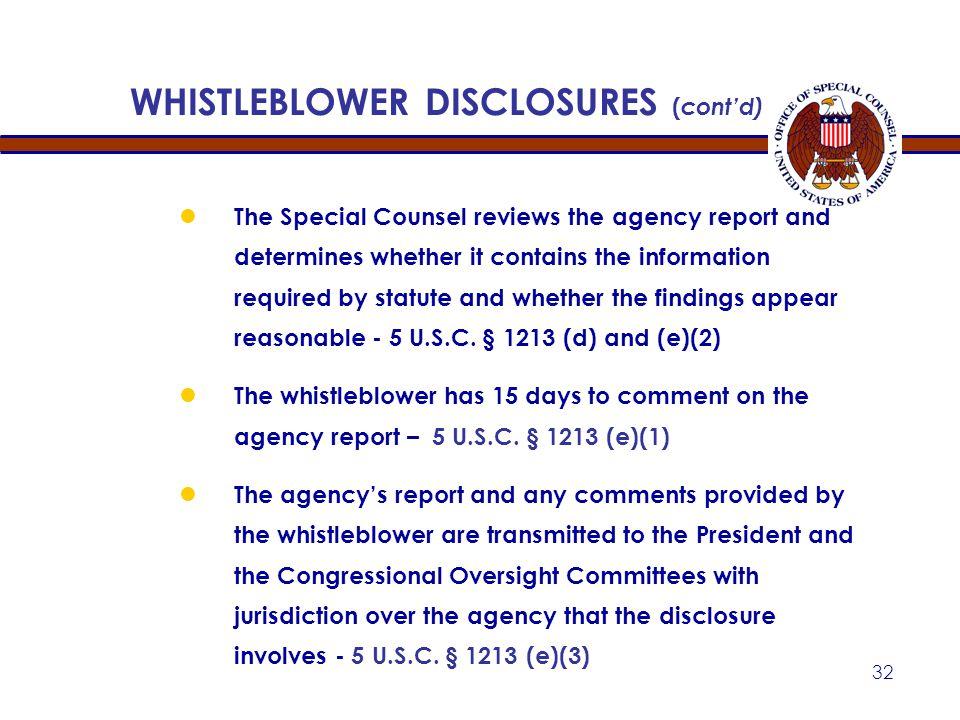 WHISTLEBLOWER DISCLOSURES (cont'd)