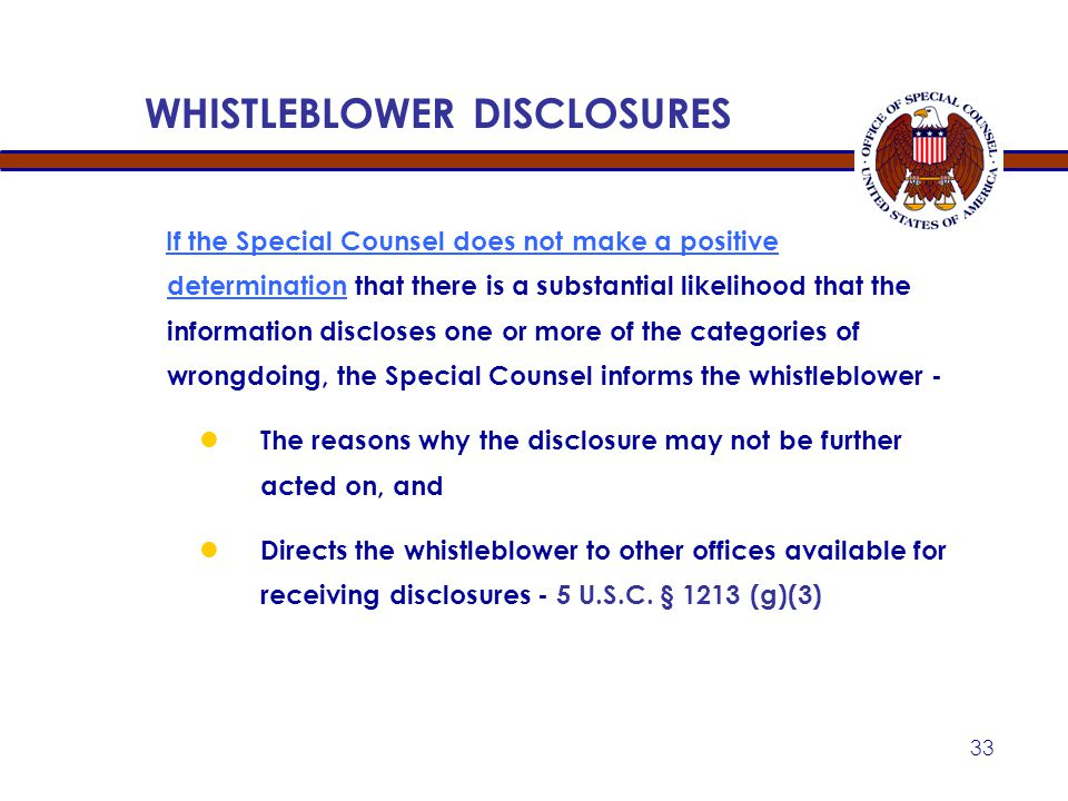 WHISTLEBLOWER DISCLOSURES