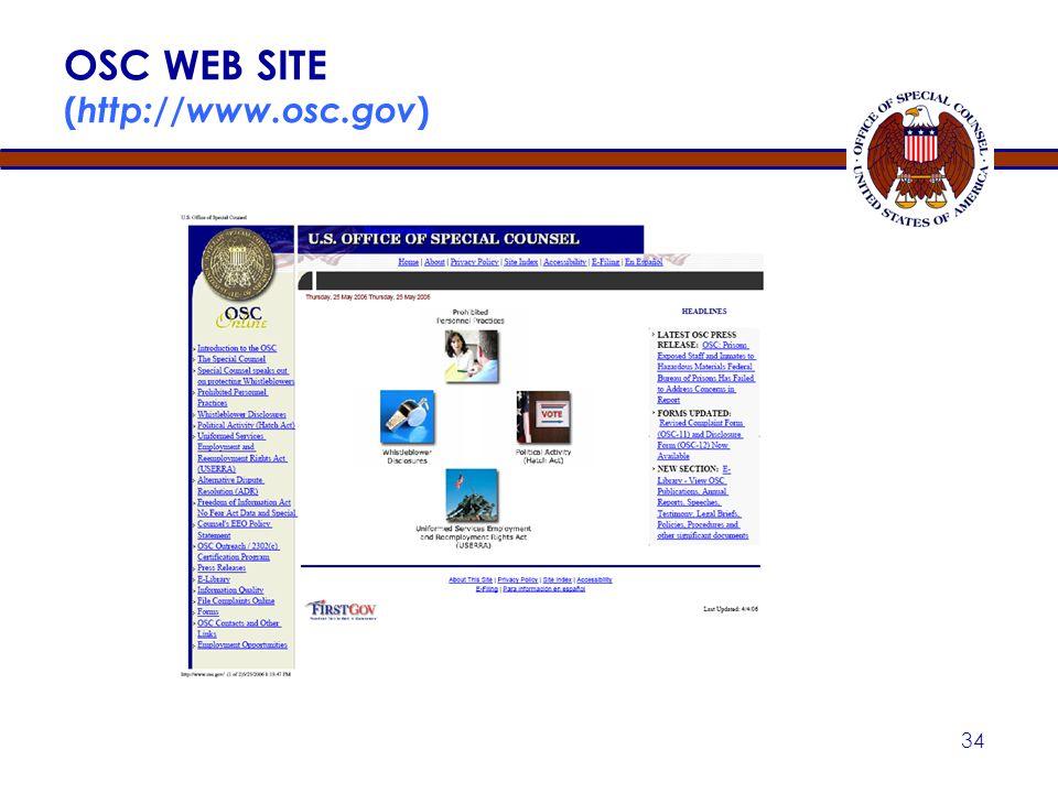 OSC WEB SITE (http://www.osc.gov)