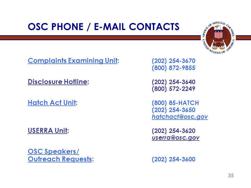 OSC PHONE / E-MAIL CONTACTS