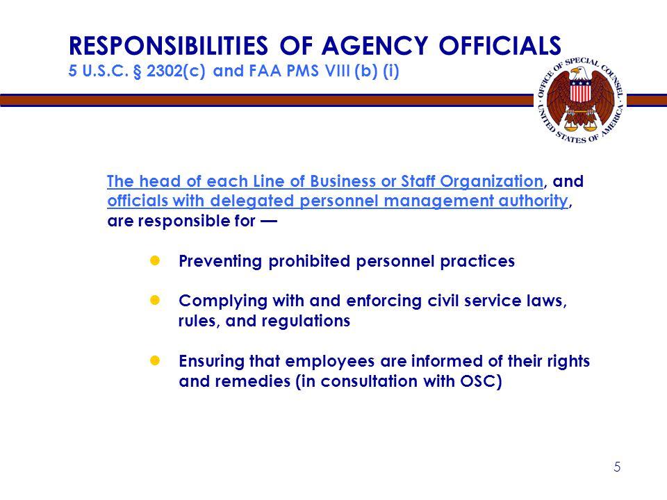 RESPONSIBILITIES OF AGENCY OFFICIALS 5 U. S. C