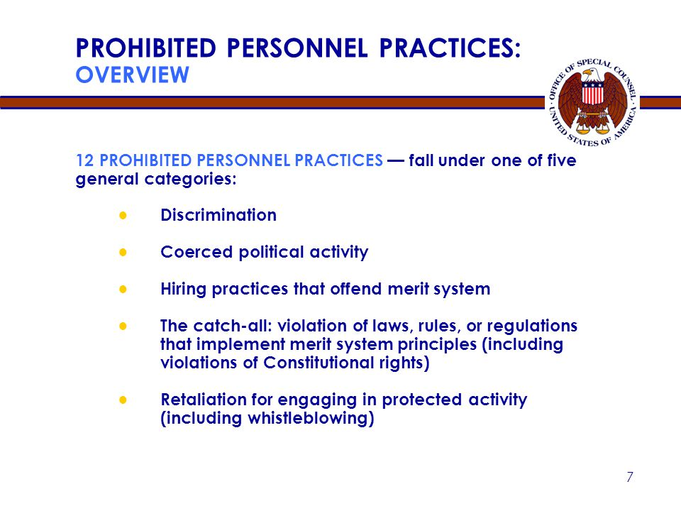 PROHIBITED PERSONNEL PRACTICES: OVERVIEW