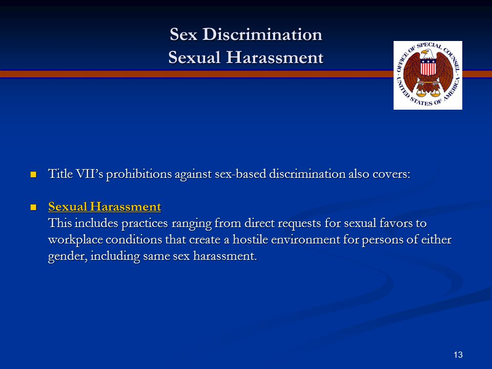Sex Discrimination Sexual Harassment